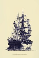 Antique Ship in Blue I Fine-Art Print