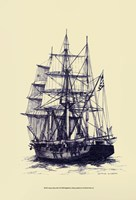 Antique Ship in Blue II Fine-Art Print