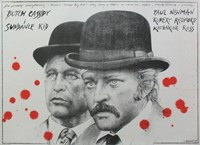Butch Cassidy and the Sundance Kid B&W Blood Splatter Fine-Art Print