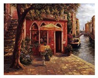 Cafe with Stairway,Venice Fine-Art Print