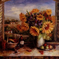 Sunflowers With Fruit And Wine II Fine-Art Print