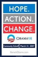 Barack Obama - (Hope, Action, Change) Campaign Poster Wall Poster