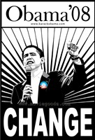 Barack Obama - (Change, Black and White) Campaign Poster Wall Poster