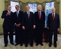Presidents Bush Senior, Obama, Clinton, Bush and Carter Fine-Art Print