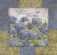 Flowers on Blue I Fine-Art Print
