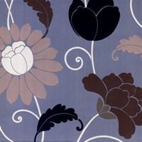 Aqua Retro Floral Fine-Art Print