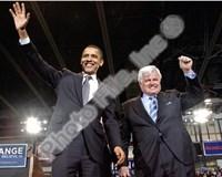 U.S. Senator Edward Kennedy & Senator Barack Obama at a 2008 Campaign Rally Fine-Art Print