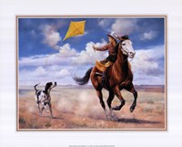 Flying a Kite with Friends Fine-Art Print