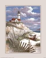 Lighthouse with Deserted Canoe Framed Print