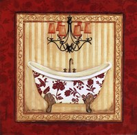 Red Demask Bath I Fine-Art Print