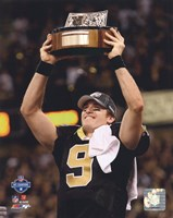 Drew Brees 2009 With NFC Championship Trophy Fine-Art Print