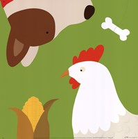 Farm Group: Hen and Dog Fine-Art Print