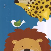 Safari Group: Leopard and Lion Framed Print