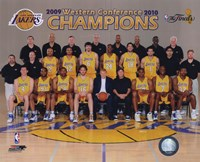 2009-10 Los Angeles Lakers Team Photo with Western Conference Champions Overlay Fine-Art Print
