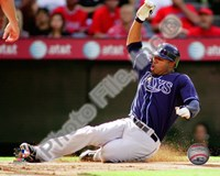 Carl Crawford 2010 Action Sliding In To Base Fine-Art Print