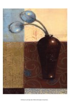 Ebony Vase with Blue Tulips I Fine-Art Print