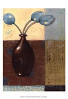 Ebony Vase with Blue Tulips II Fine-Art Print