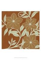 Tan Flowers with Mint Leaves I Fine-Art Print