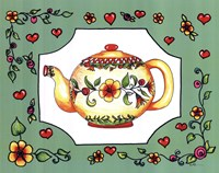 Teapot with Green Floral Fine-Art Print