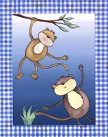 Two by Two Blue - Monkeys Fine-Art Print