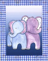 Two by Two Blue - Elephant Fine-Art Print