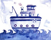 Blue Tugboat Fine-Art Print