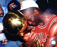 Michael Jordan Game 5 of the 1991 NBA Finals with Championship Trophy Fine-Art Print
