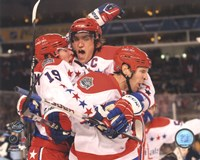 Alex Ovechkin, Nicklas Backstrom, & Mike Knuble Celebrate 2011 NHL Winter Classic Fine-Art Print