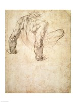 W.63r Study of a male nude, leaning back on his hands Fine-Art Print