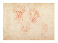 W.33 Sketches of satyrs' faces Fine-Art Print