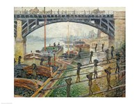 The Stream of Robec at Rouen, 1872 workers Fine-Art Print