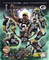 Green Bay Packers Super Bowl XLV Champions PF Gold Composite Fine-Art Print