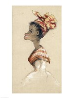 Black Woman Wearing a Headscarf, 1857 Fine-Art Print