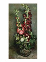 Vase of Hollyhocks, 1886 Framed Print