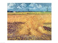 Wheatfield with Sheaves, 1888 - wheat pile Fine-Art Print