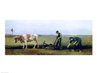 Labourer and Peasant Planting Potatoes, 1884 Fine-Art Print