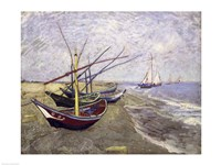 Fishing Boats on the Beach at Saintes-Maries-de-la-Mer Fine-Art Print