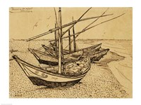 Fishing Boats on the Beach at Saintes-Maries-de-la-Mer, 1888 Fine-Art Print