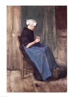 Young Scheveningen Woman Knitting, Facing Right Fine-Art Print