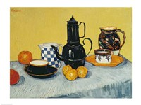 Still Life with Blue Enamel Coffeepot, Earthenware and Fruit Fine-Art Print