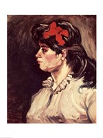 Portrait of a Woman with a Red Ribbon, 1885 Fine-Art Print