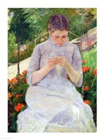 Young Woman Sewing in the garden Fine-Art Print