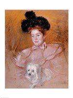 Woman holding a dog Fine-Art Print
