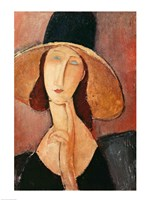 Portrait of Jeanne Hebuterne in a large hat, c.1918-19 Fine-Art Print