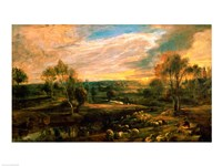 A Landscape with a Shepherd and his Flock Fine-Art Print
