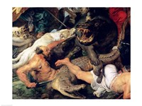 Hippopotamus and Crocodile Hunt - up close Fine-Art Print