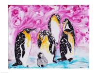 Penguins Under Magenta Sky Fine-Art Print