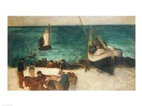 Seascape at Berck, Fishing Boats and Fishermen, 1872-73 Fine-Art Print