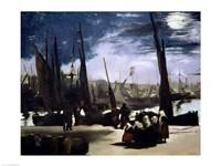 Moonlight on Boulogne Harbour, 1868 Fine-Art Print