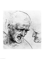 Studies for the heads of two soldiers in 'The Battle of Anghiari Fine-Art Print